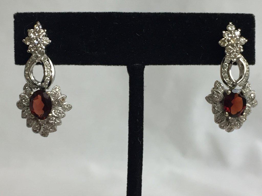 14k garnet and diamond earrings, 6.1 dwts