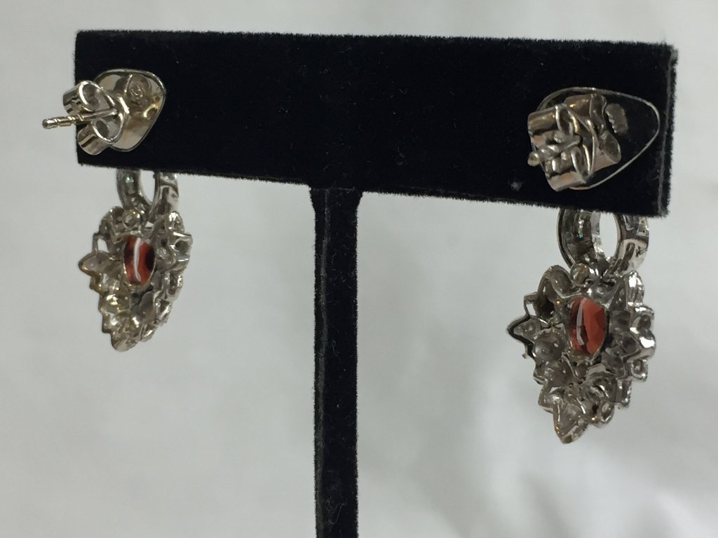 14k garnet and diamond earrings, 6.1 dwts - 2