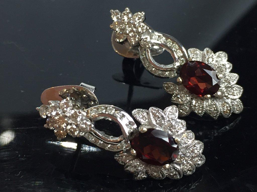 14k garnet and diamond earrings, 6.1 dwts - 3