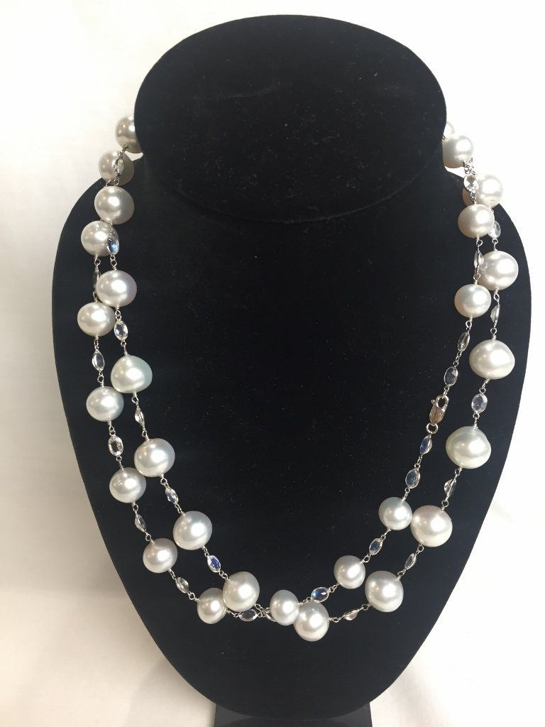 18k, cultured pearl and moonstone necklace
