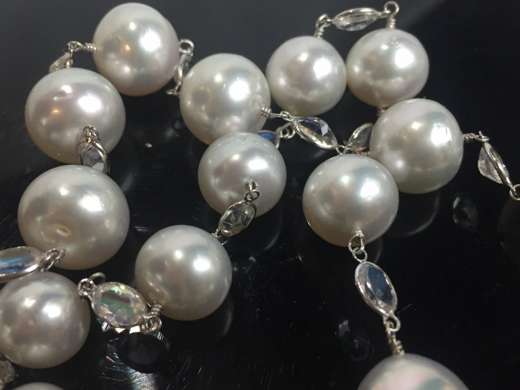 18k, cultured pearl and moonstone necklace - 5