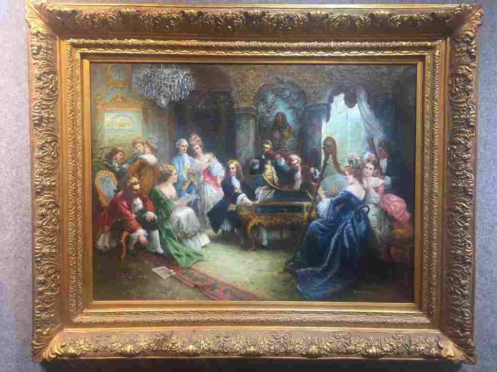 Large painting of 18th century musical party