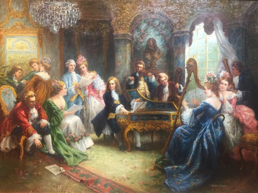 Large painting of 18th century musical party - 2