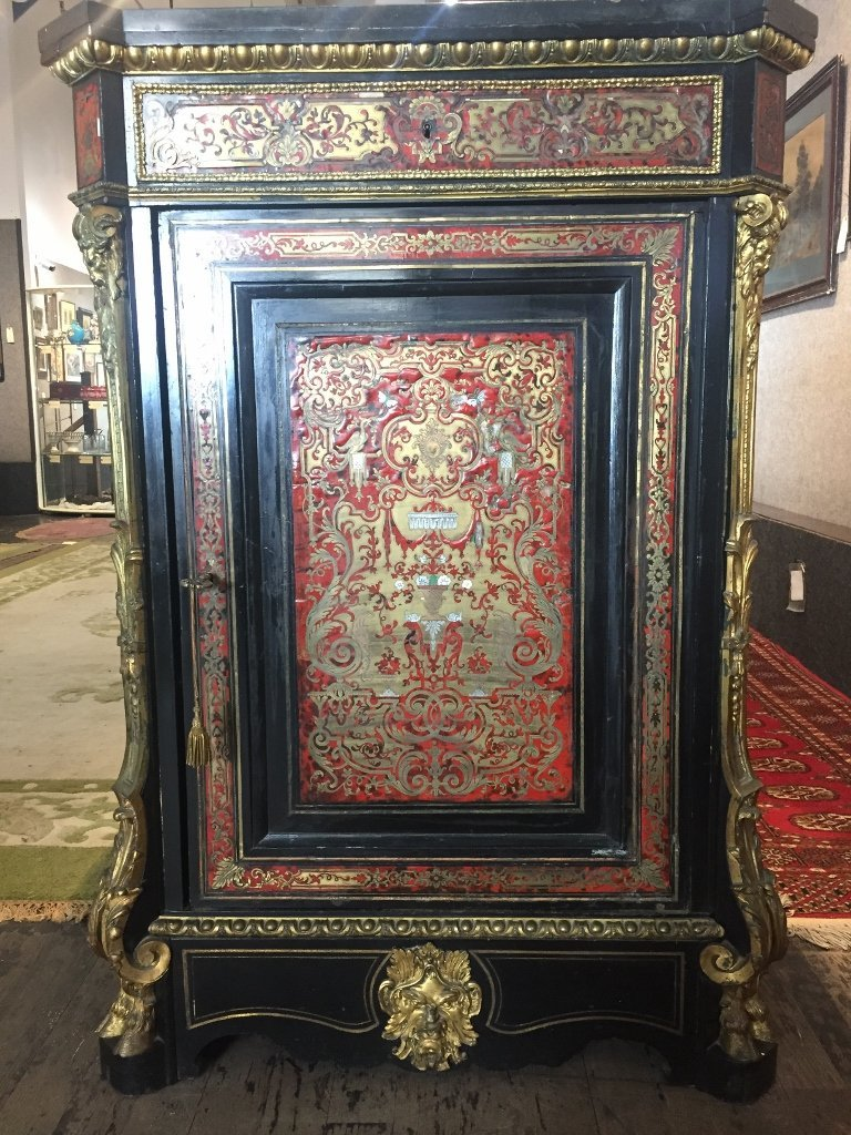 Boulle cabinet with ormolu, c.1900-marble top