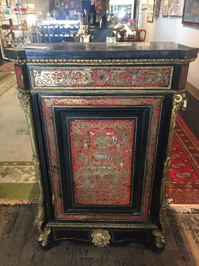 Boulle cabinet with ormolu, c.1900-marble top - 2