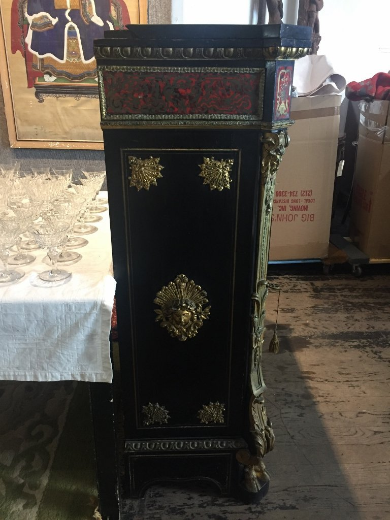 Boulle cabinet with ormolu, c.1900-marble top - 3