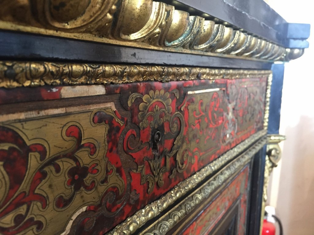 Boulle cabinet with ormolu, c.1900-marble top - 9