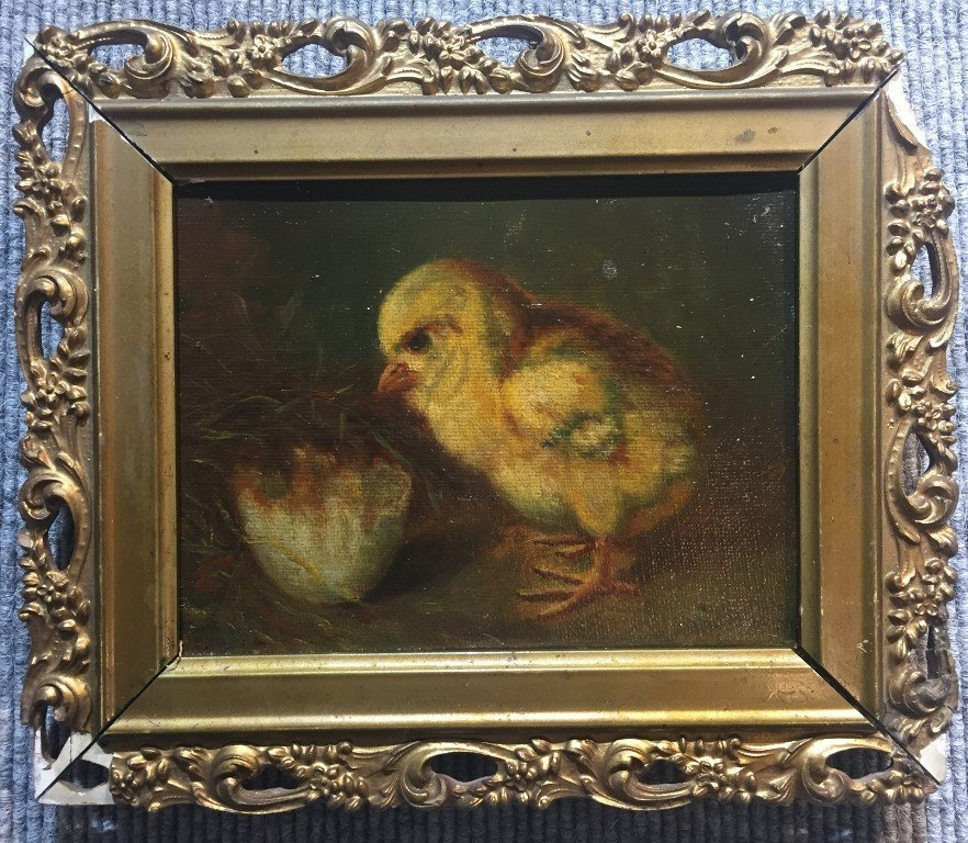 19th century painting of a chick with egg