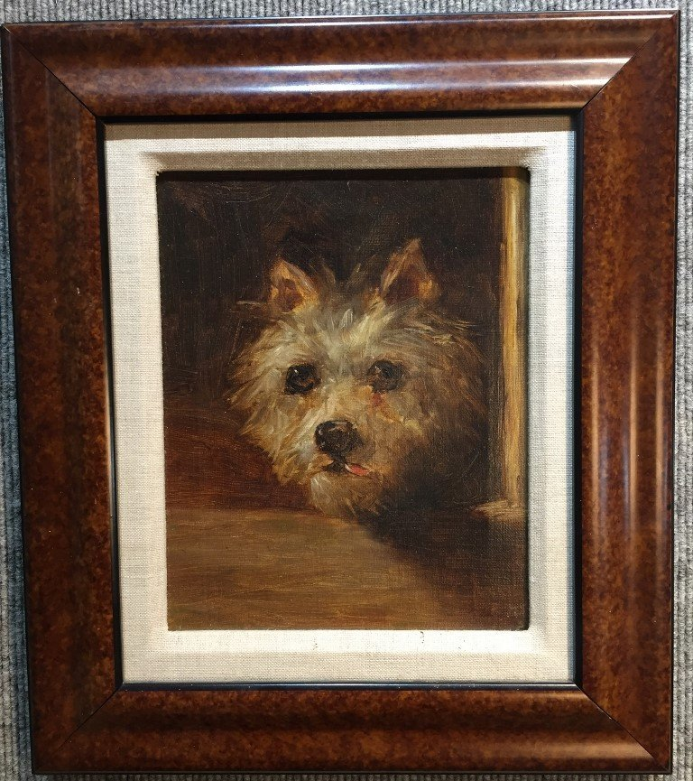 19th century painting of a dog's face