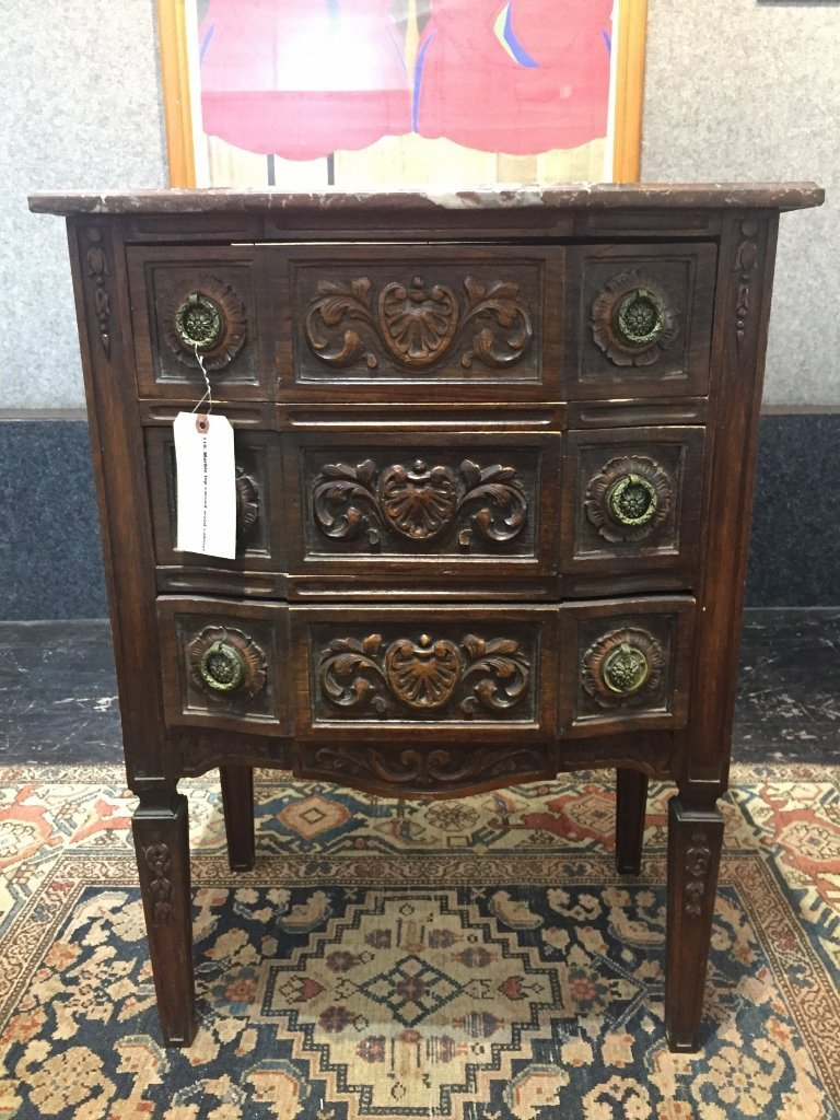 Marble top carved wood cabinet