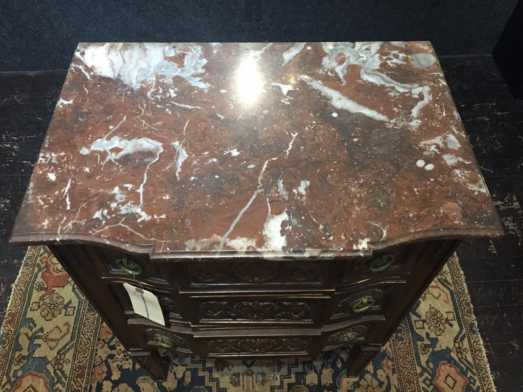 Marble top carved wood cabinet - 2