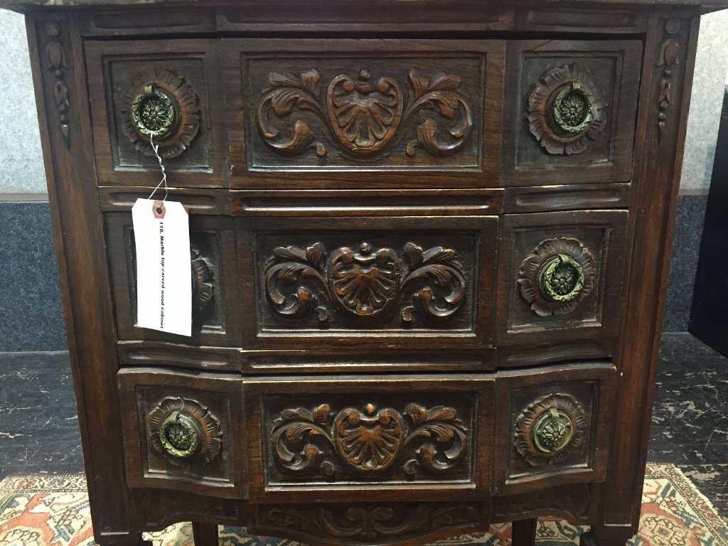 Marble top carved wood cabinet - 3