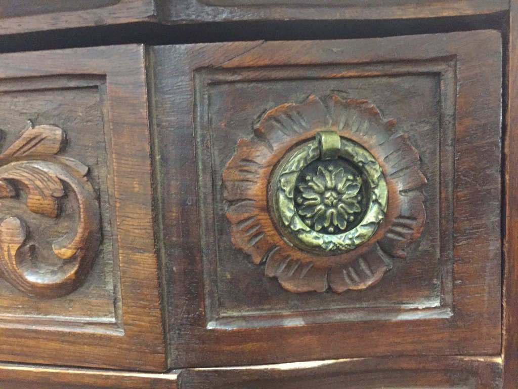Marble top carved wood cabinet - 4