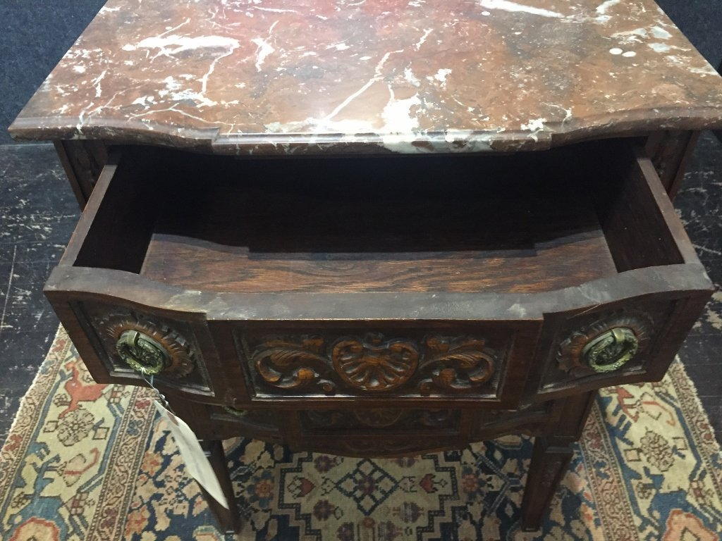 Marble top carved wood cabinet - 6