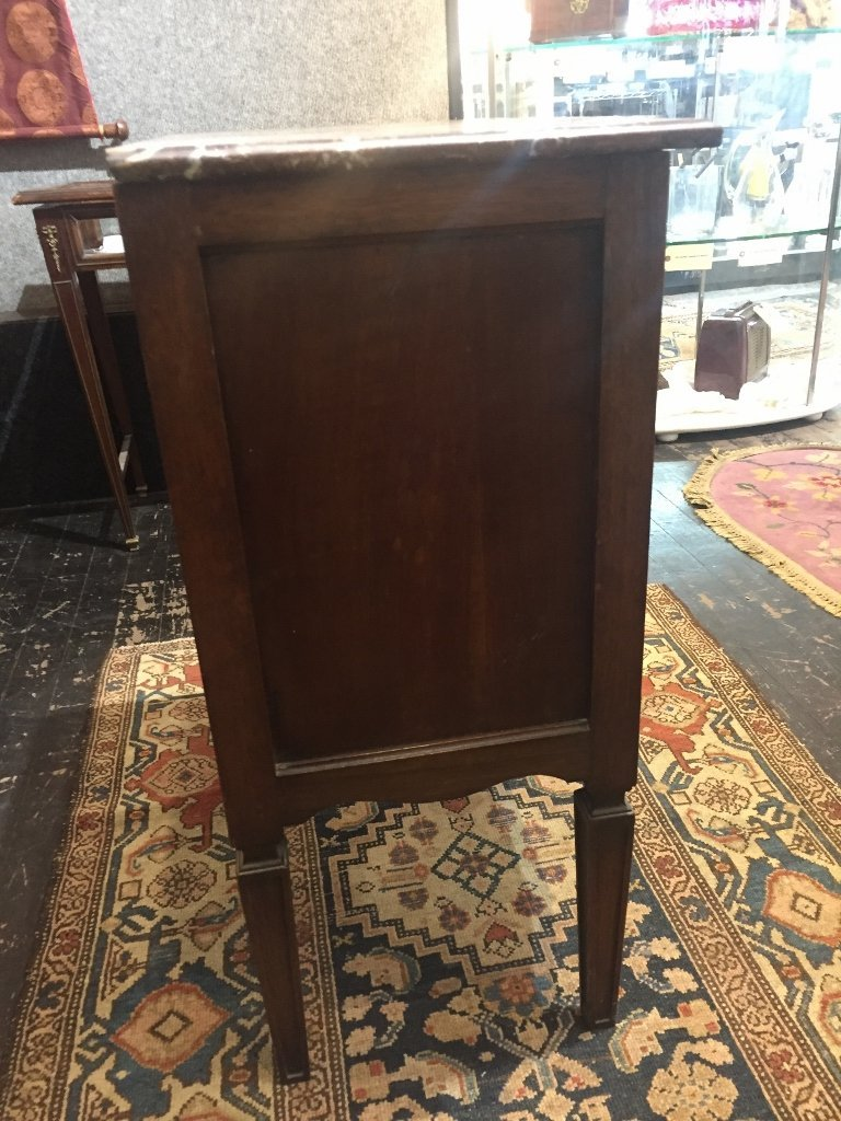 Marble top carved wood cabinet - 7