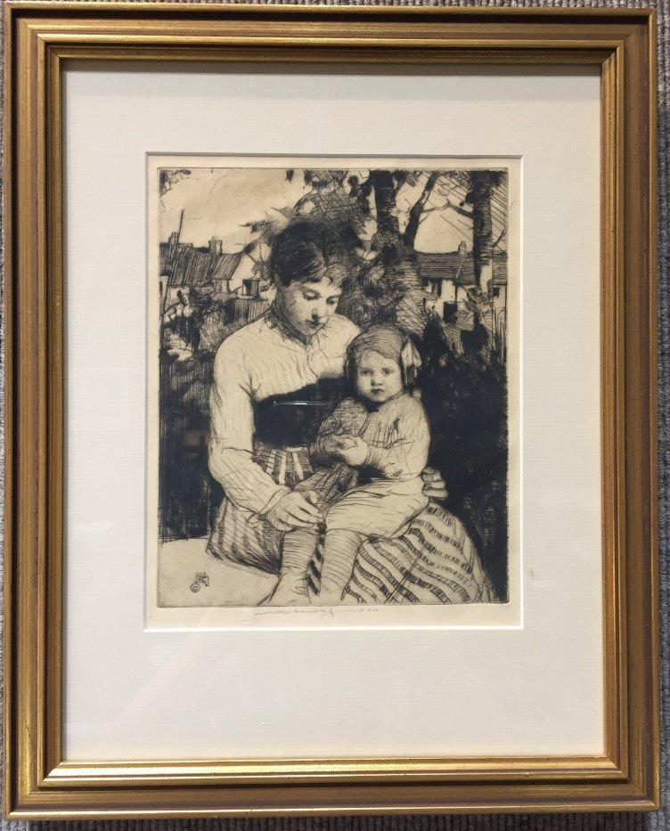 Etching of woman & baby by William Lee Hankey