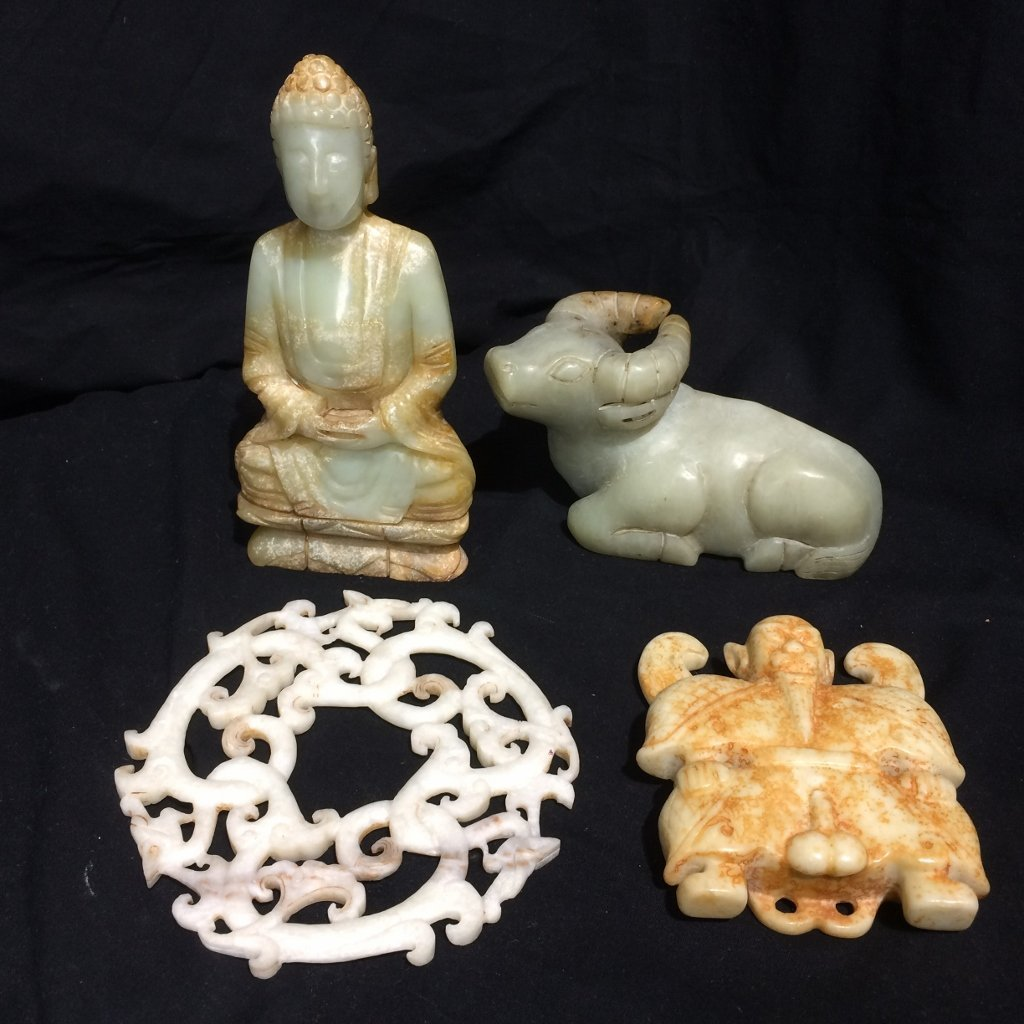 Four miscellaneous. hardstone Chinese items