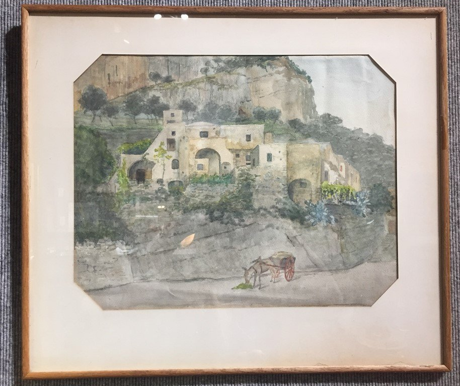 Watercolor of village with mule-unsigned,c.1900