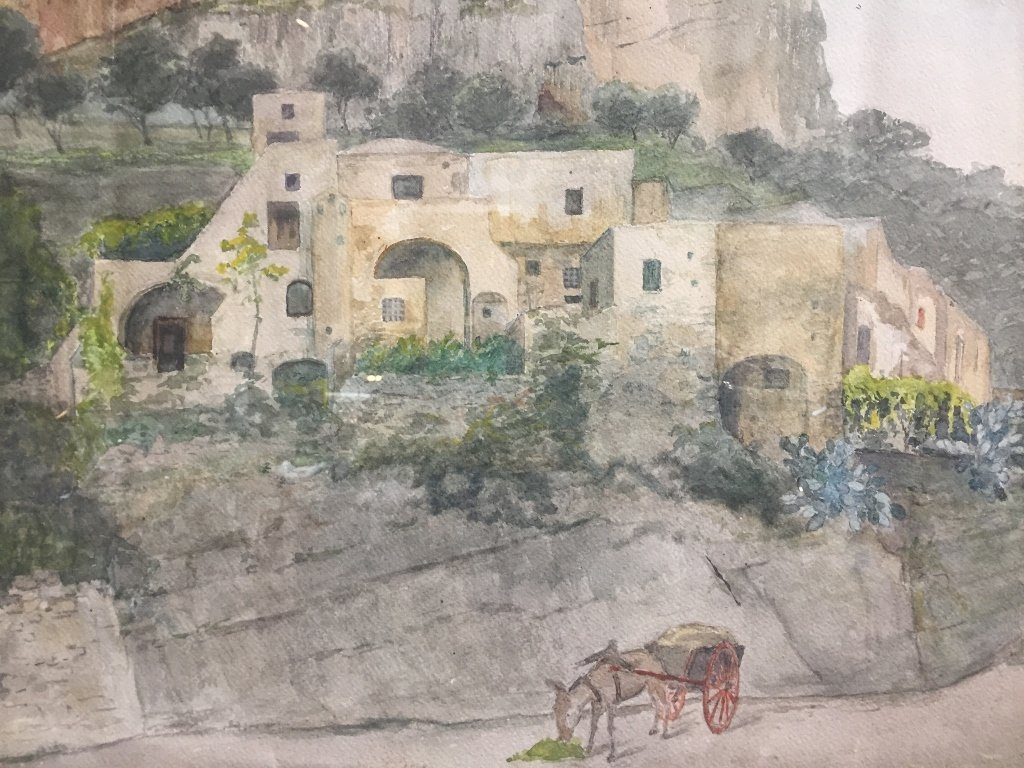 Watercolor of village with mule-unsigned,c.1900 - 2