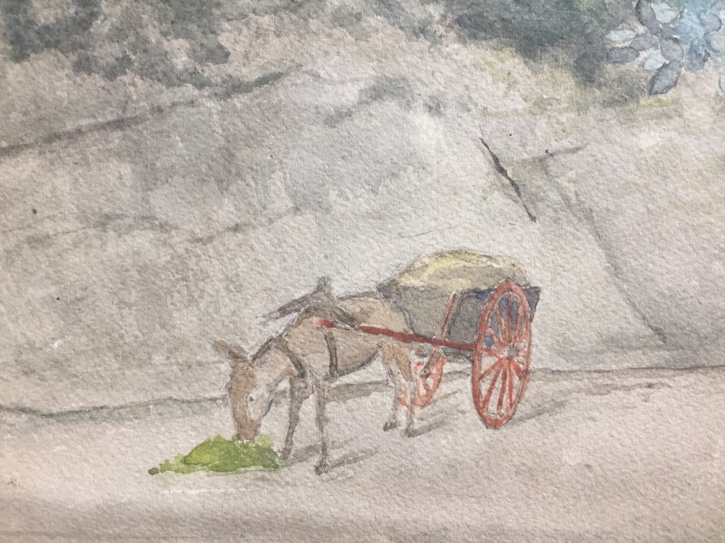 Watercolor of village with mule-unsigned,c.1900 - 3