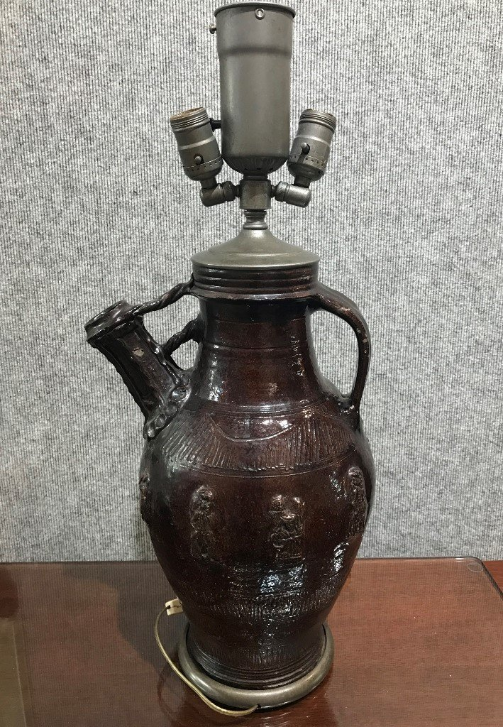 17th century jug, made into lamp