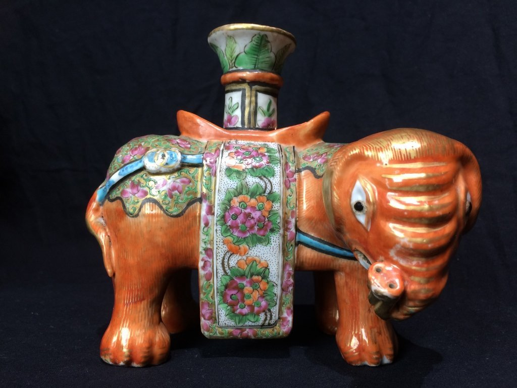 Chinese single candlestick, elephant form.18th/19th cen