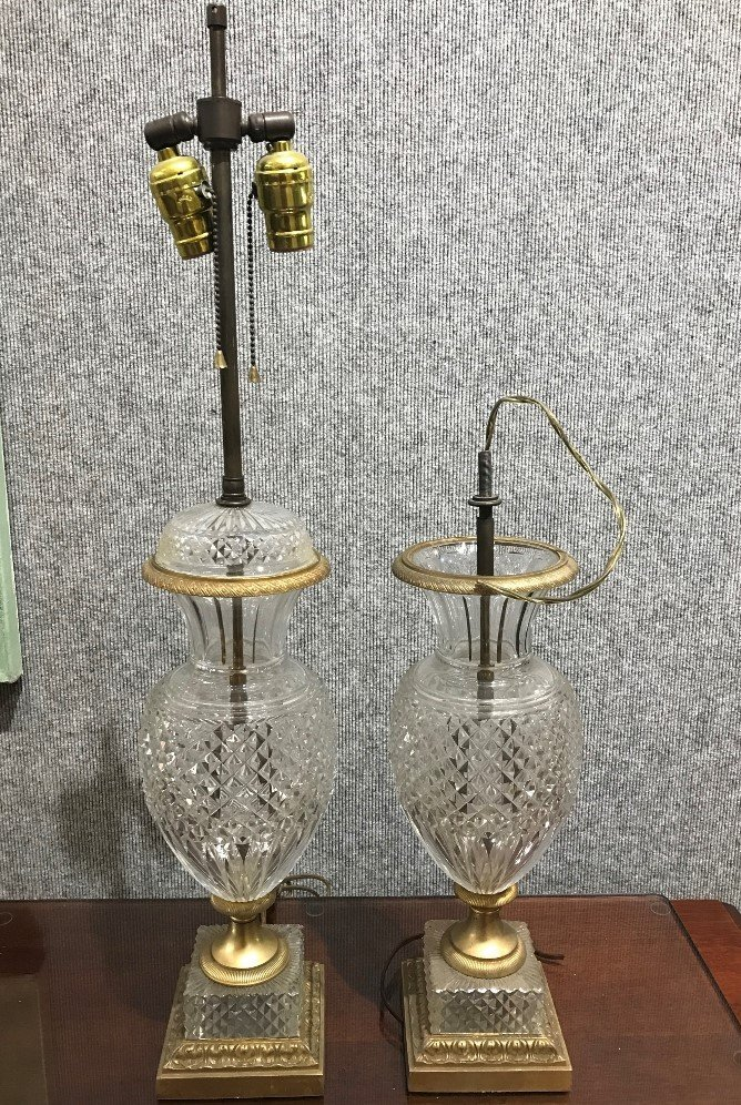Pair of crystal lamps-as-is