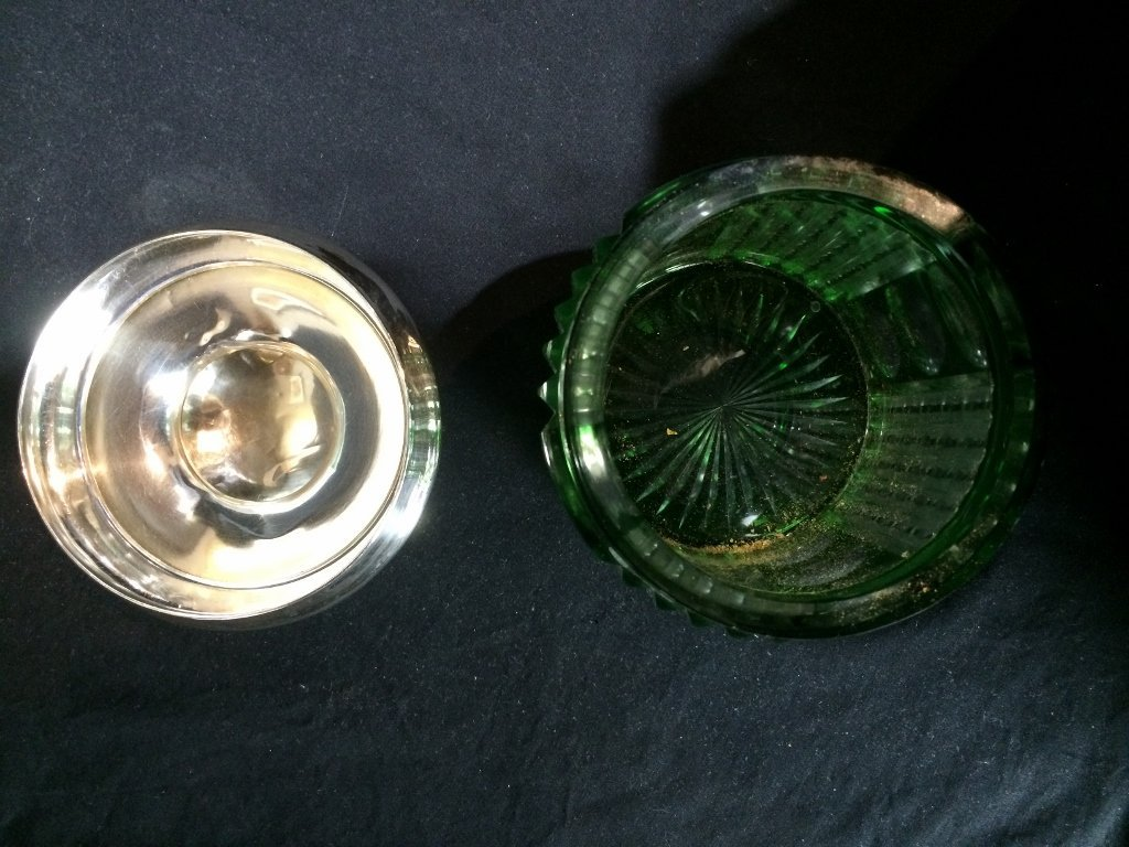 Silver and cut to clear green glass candy jar, c.1900 - 3