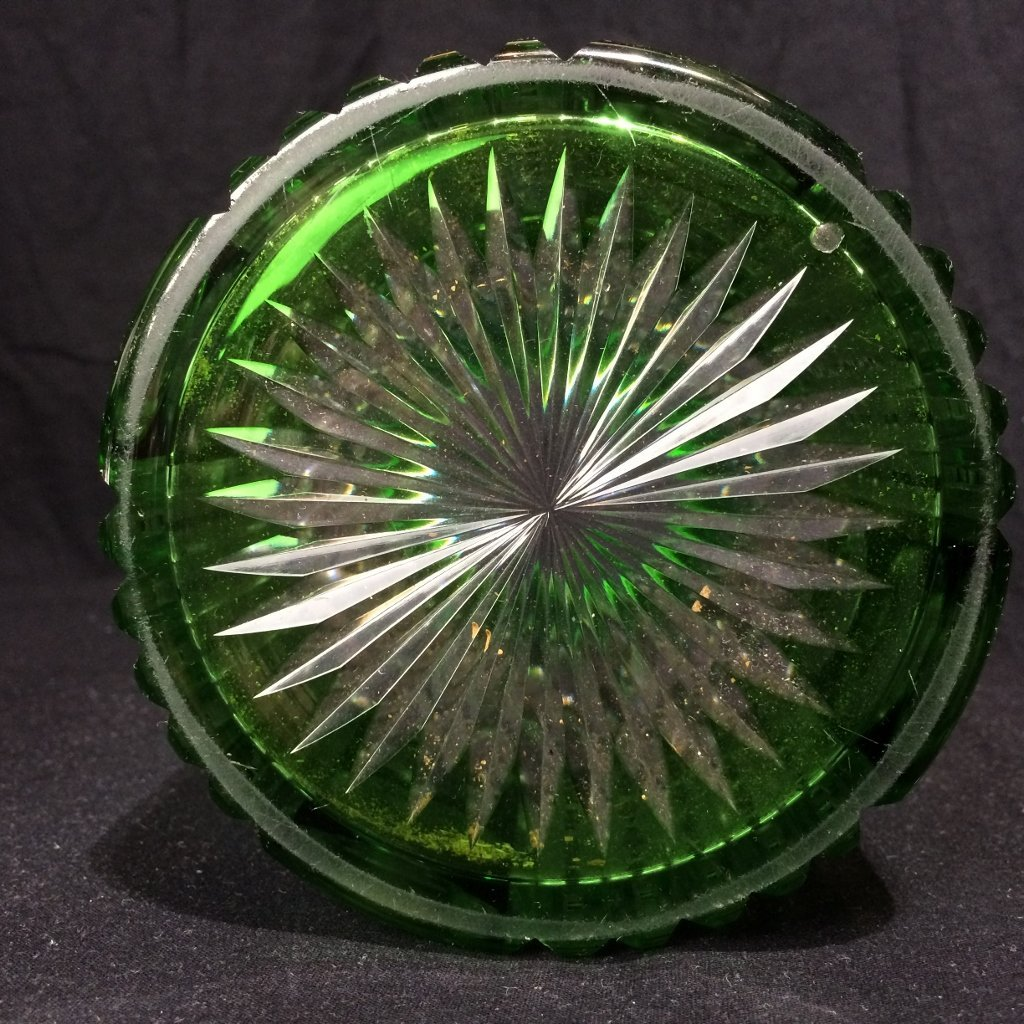 Silver and cut to clear green glass candy jar, c.1900 - 4
