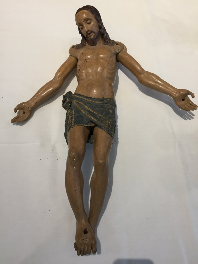 Large carved wood Christ, 19th century
