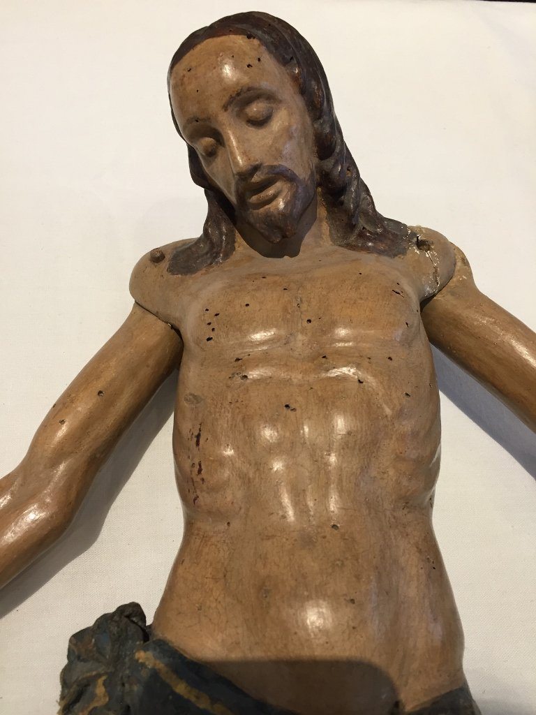 Large carved wood Christ, 19th century - 2