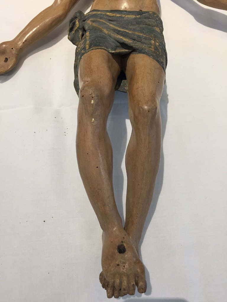 Large carved wood Christ, 19th century - 3