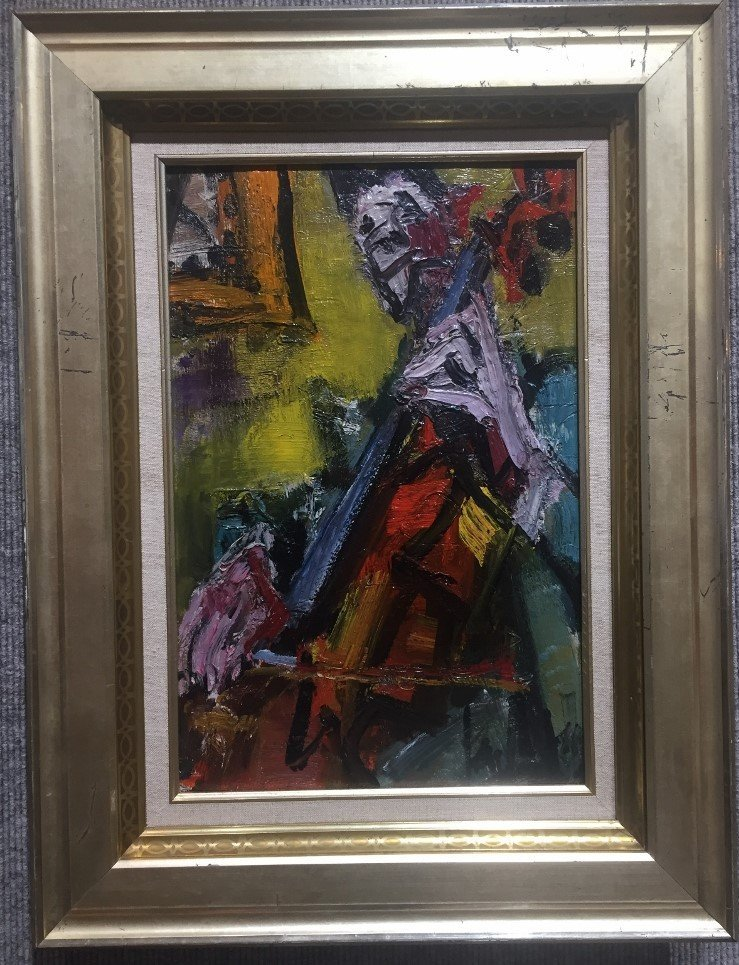 Modern painting of a cello player, signed, c.1950
