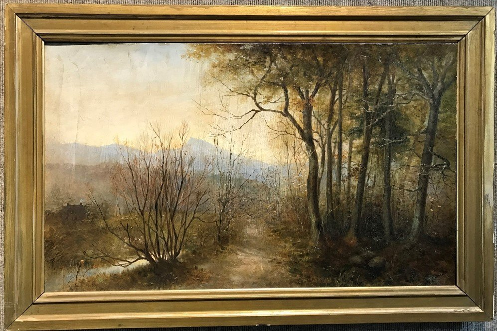 Painting of woods, signed