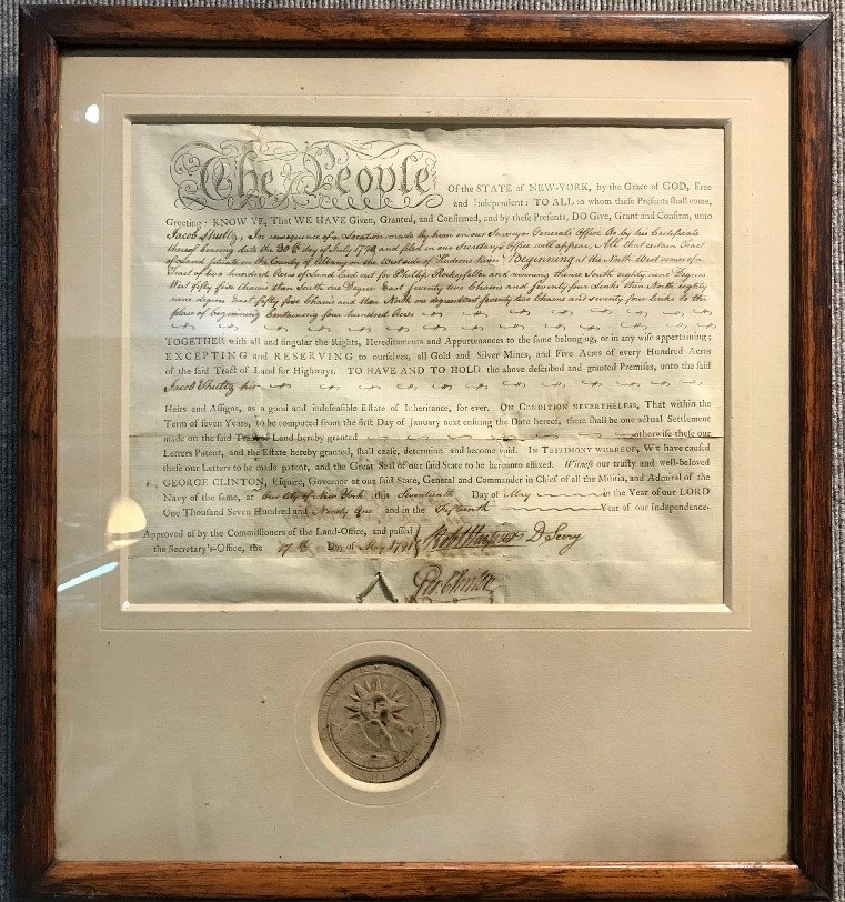 1791 deed with George Clinton(NYS Gov)signature