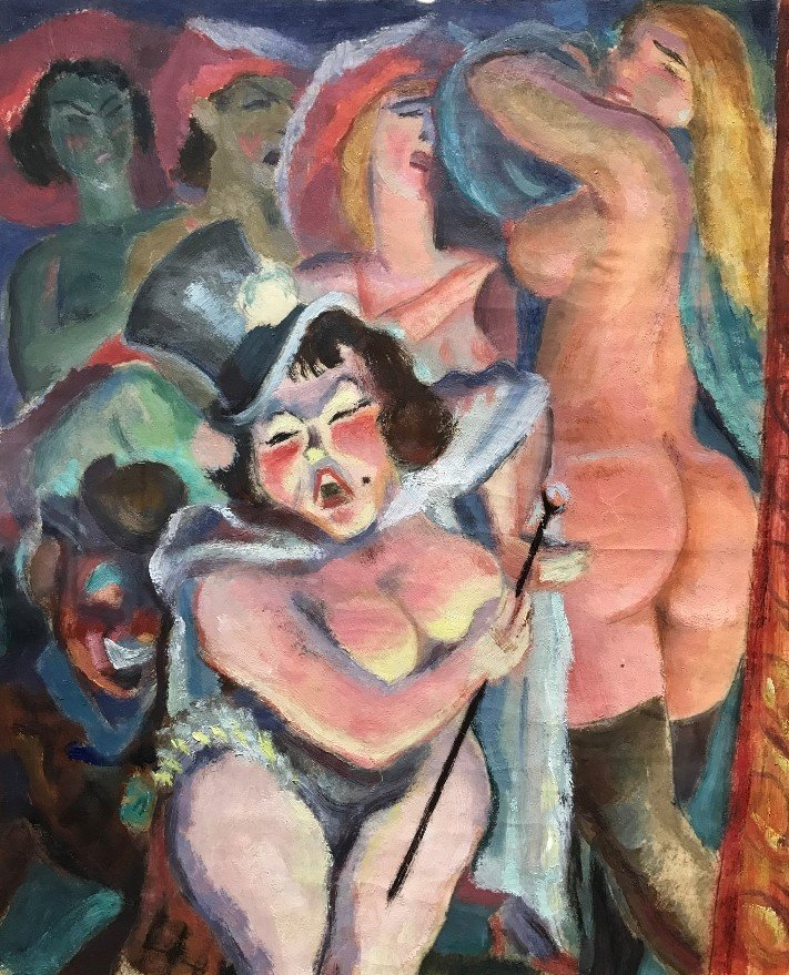 Oil on paper of strippers by Maurice Brevannes, c.1930