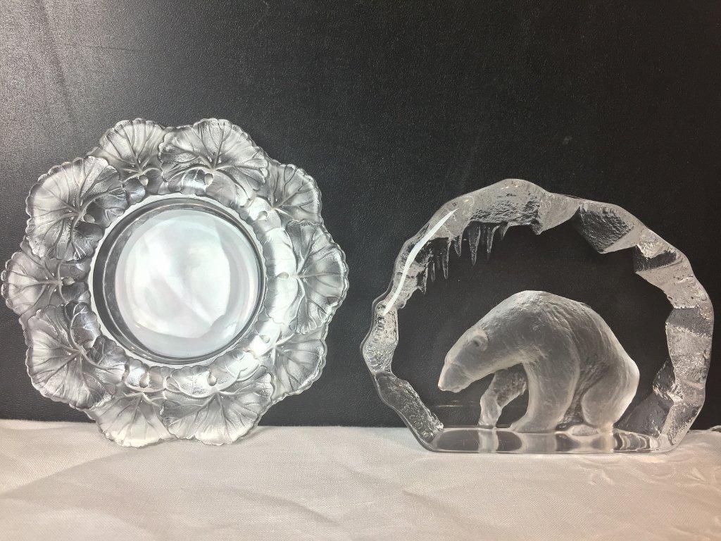 Lalique dish and crystal polar bear
