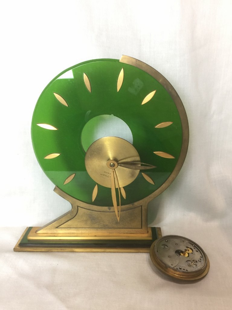 Box lot-Art deco Waltham clock-as is