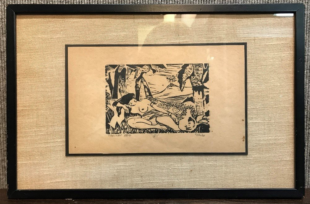Woodcut of Tahitian maid-signed, c.1940