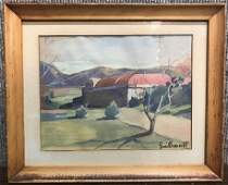 Watercolor of landscape by Lucien Guilleminot