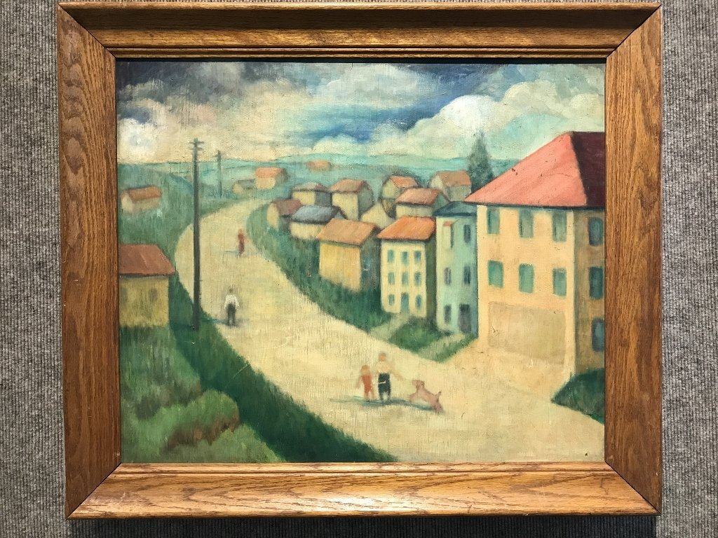 Unsigned painting of a village, c.1950