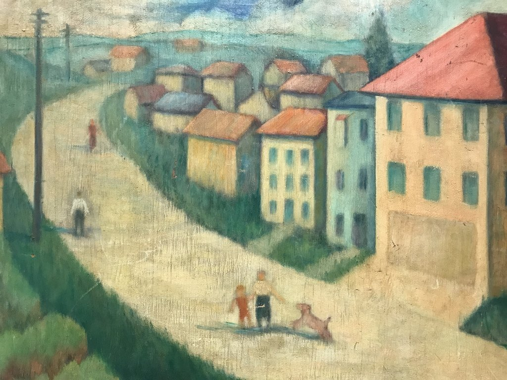 Unsigned painting of a village, c.1950 - 2