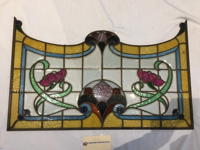 Stained glass window for transom