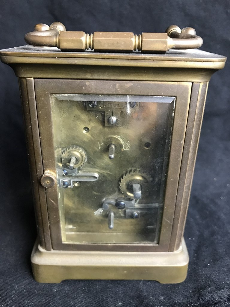 Carriage clock with bell, c.1910 - 3