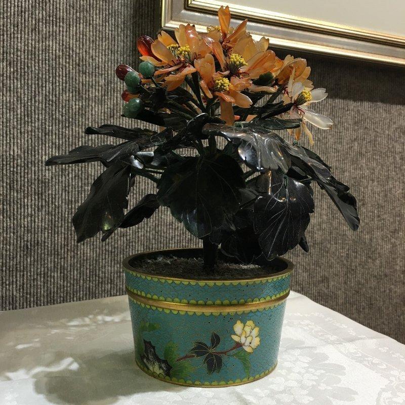 Cloisonne jade tree - 3