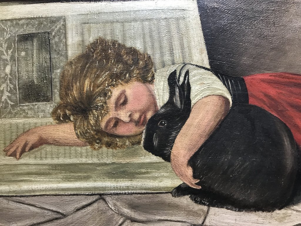 Painting of a girl with rabbit by H.Wittig, 1908 - 3