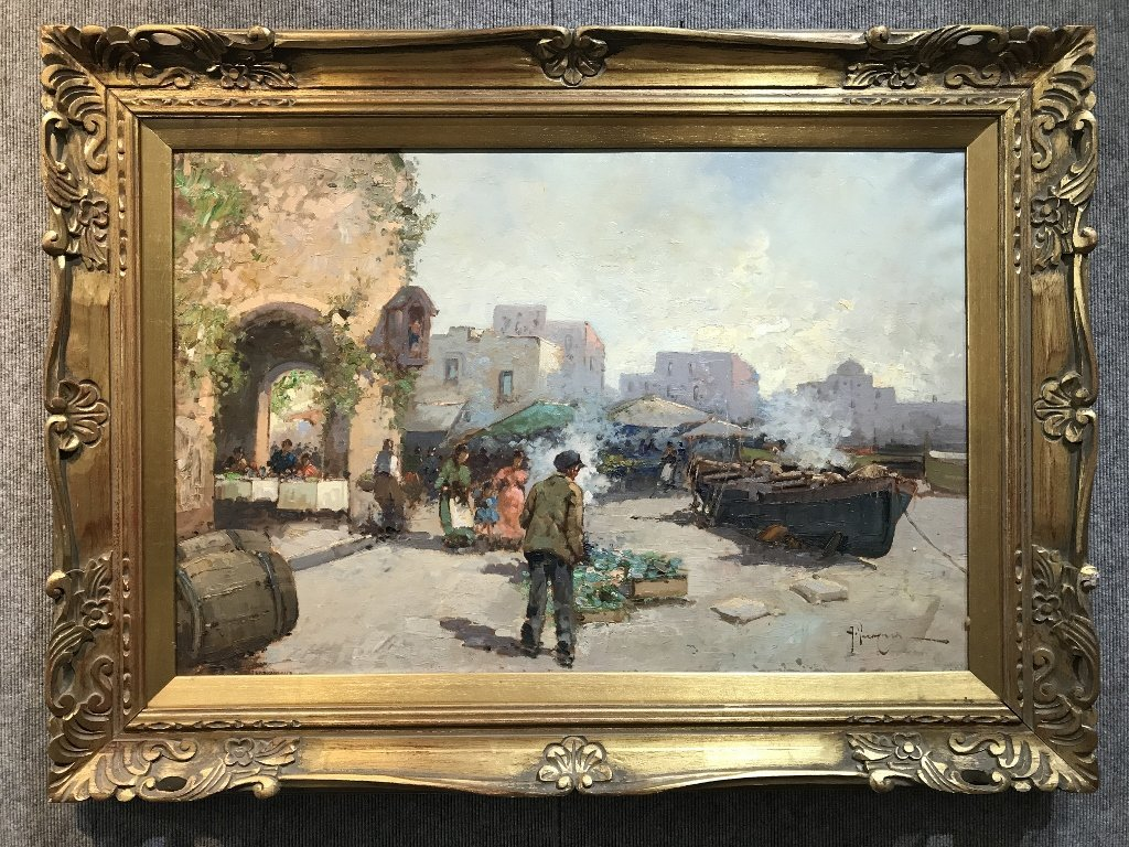 Large Italian or Belgian painting of village-signed