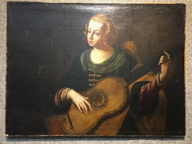 18/19th century oil painting, girl with mandolin