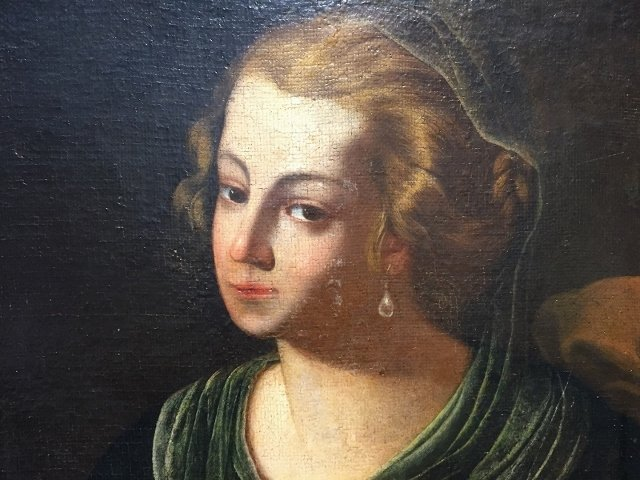 18/19th century oil painting, girl with mandolin - 2