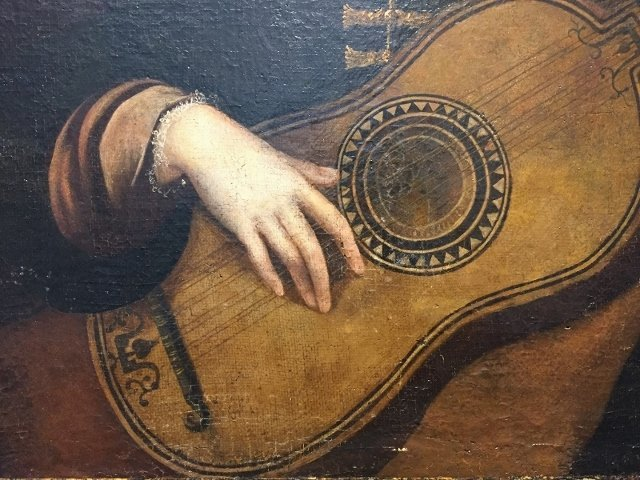 18/19th century oil painting, girl with mandolin - 3